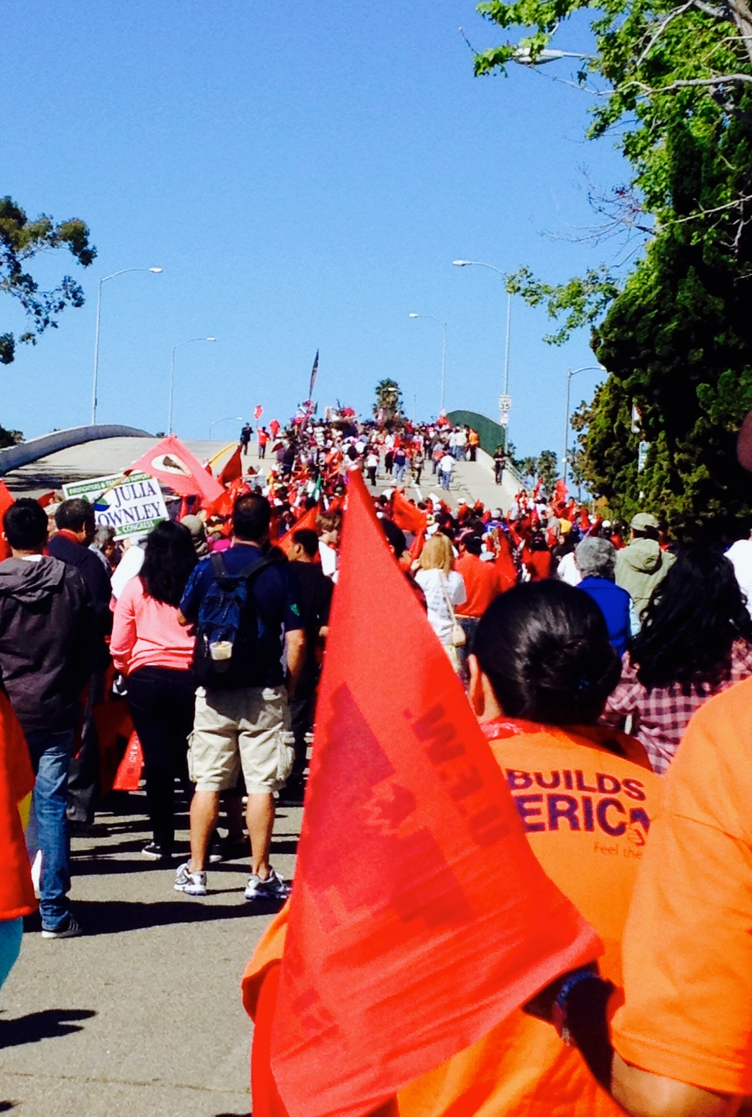 Cesar Chavez March-Over the Bridge-Oxnard, CA-alvaradofrazier.com