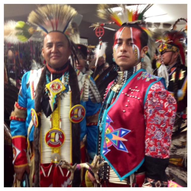 Two dancers in regalia, GON 2014 alvaradofrazier.com