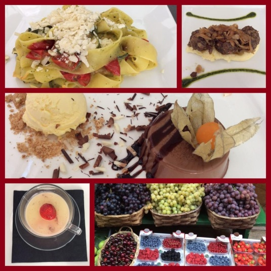 Foods of Siena, Italy. Pappardelle, Sformatino, Panna Cotta, berries