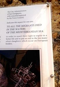 Dedication to Migrants-San Gimignano, Italy