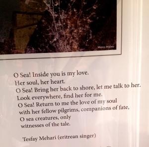 Poem to the migrants lost at sea, San Gimignano, Italy