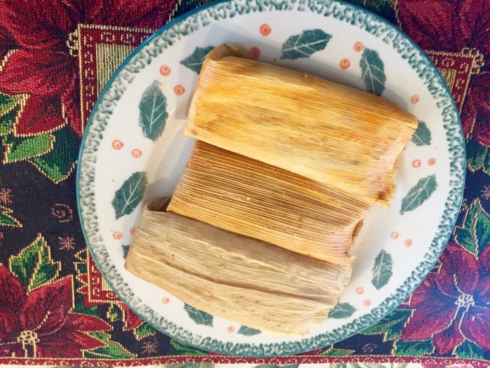 Christmas food, tamales, red chile tamales, green chile tamales, Mexican tamales