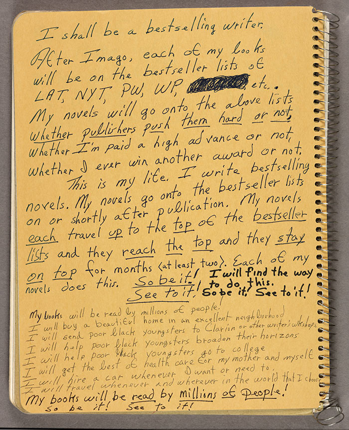 Octavia Butler's letter on writing, books,