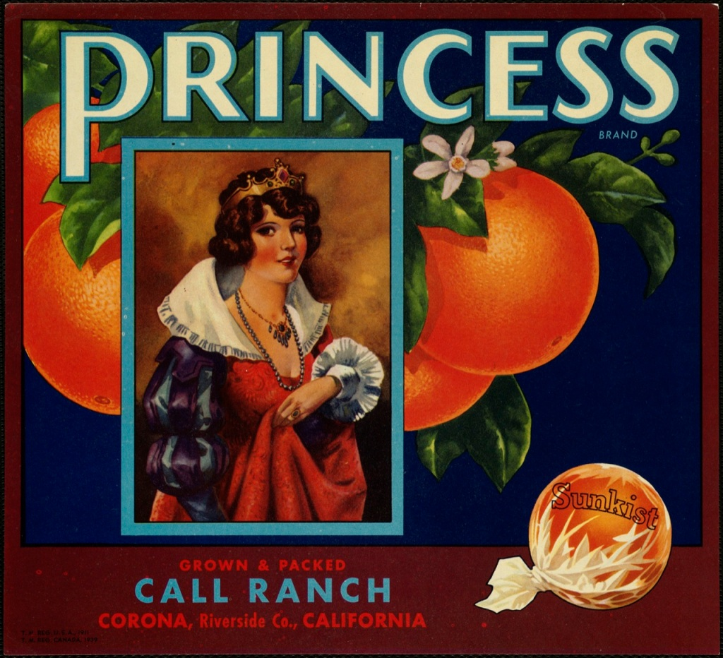 vintage citrus label Princess Call Ranch