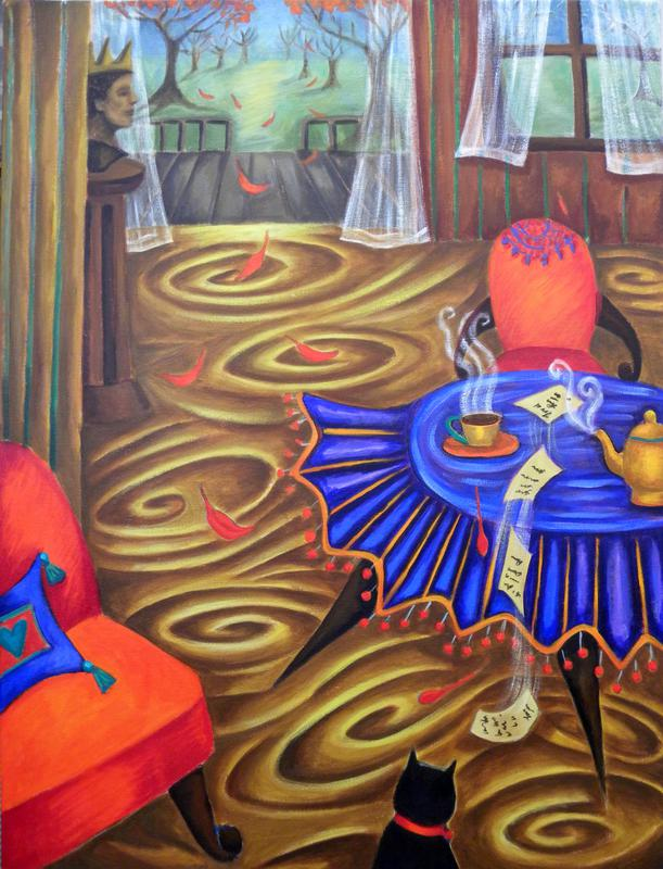 "Painting on acrylic ""What is she Writing?"" by Patssi Valdez"