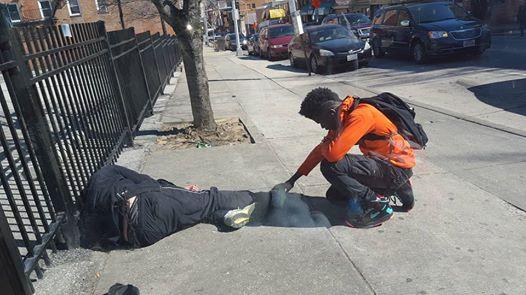 teenager, young man, praying, homeless man