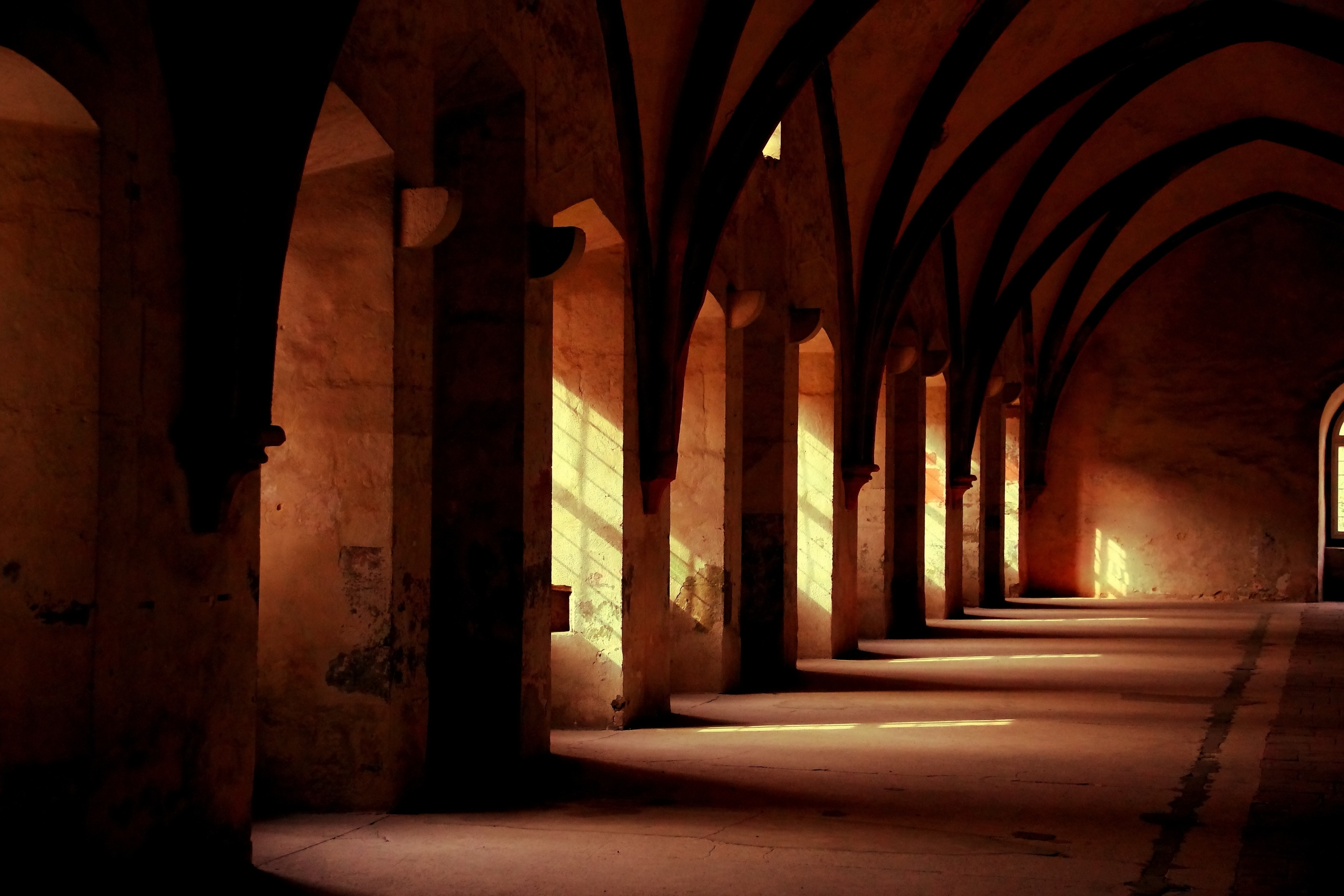inside of monastery, sunlight, photo by Helmut Tobies