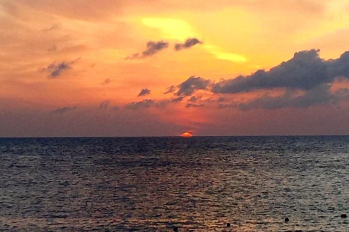 Sunset over Cozumel, Caribbean Ocean