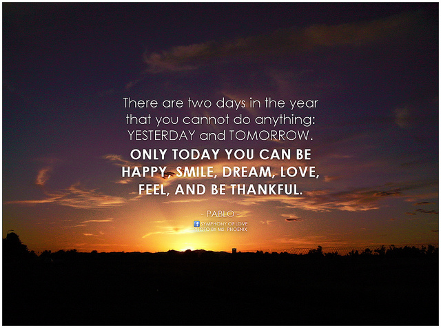 Be thankful quote, sunset