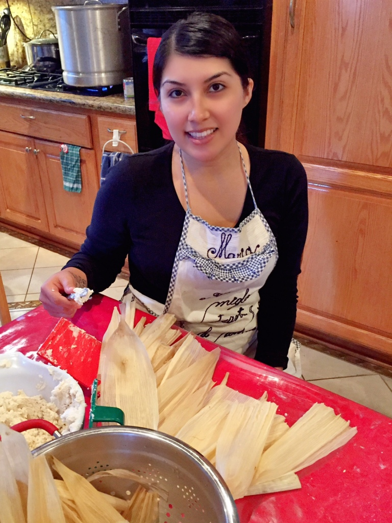 spreading tamale masa