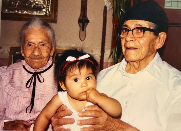 baby girl with great grandparents