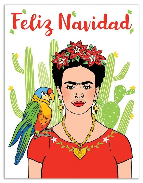 Frida Kahlo with poinsettias in her hair and parrot from Champagne Confetti Co. on pinterest.com/champagnecon/